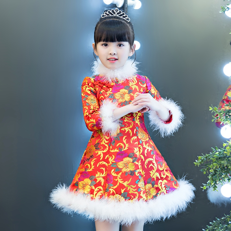 Girl Chinese new year dress traditional costume for kids winter clothes long sleeve thick warm cheongsam qipao birthday red