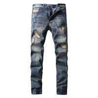 Italian Designer Men Jeans High Quality Straight Fit 100 Cotton Ripped Jeans Homme Famous DSEL Brand