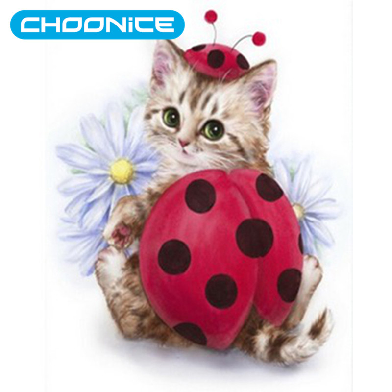 Flower Cat Diamond Painting Kitten DIY 3D Diamond Embroidery Ladybug Dress Up Pokemon Cat Picture Beading Embroidery Kits