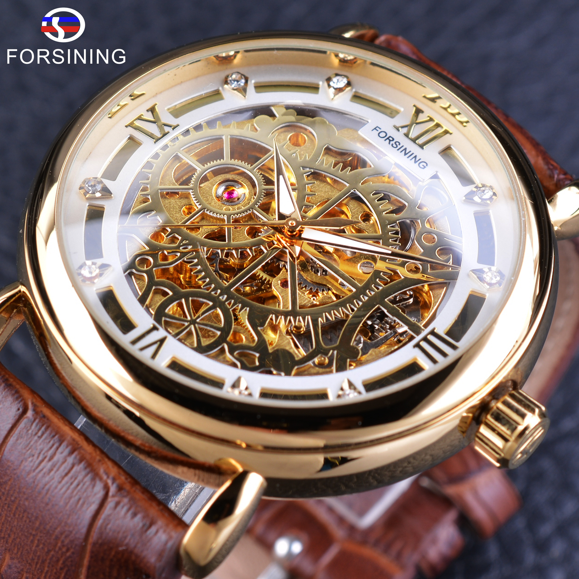Forsining font b Men s b font Automatic Self Wind Watch Golden Skeleton Wristwatch with Brown