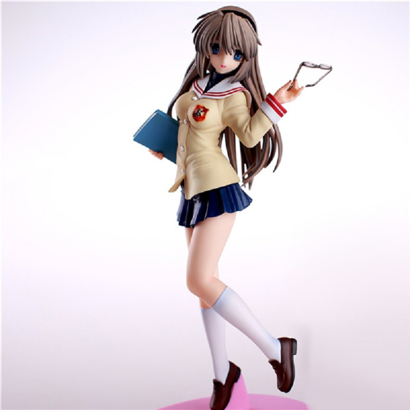 1/6 Scale <font><b>Anime</b></font> Action Figure <font><b>Clannad</b></font> Sakagami Tomoyo School Uniform Ver Model PVC Decoration with Glasses and Book Doll 25cm image