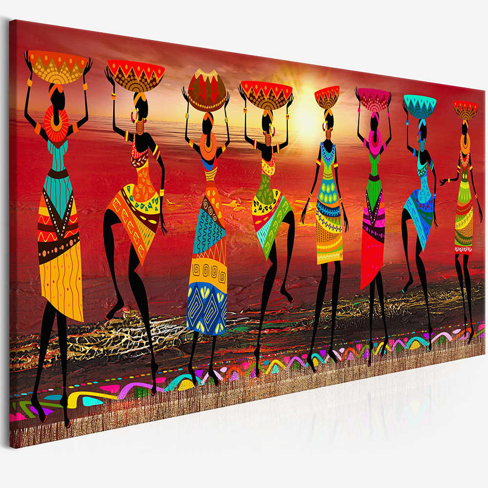 WANGART Cuadros Etnicos Tribal Art Paintings African Women Dancing Oil Painting Picture for Living Room Canvas print Home Decor