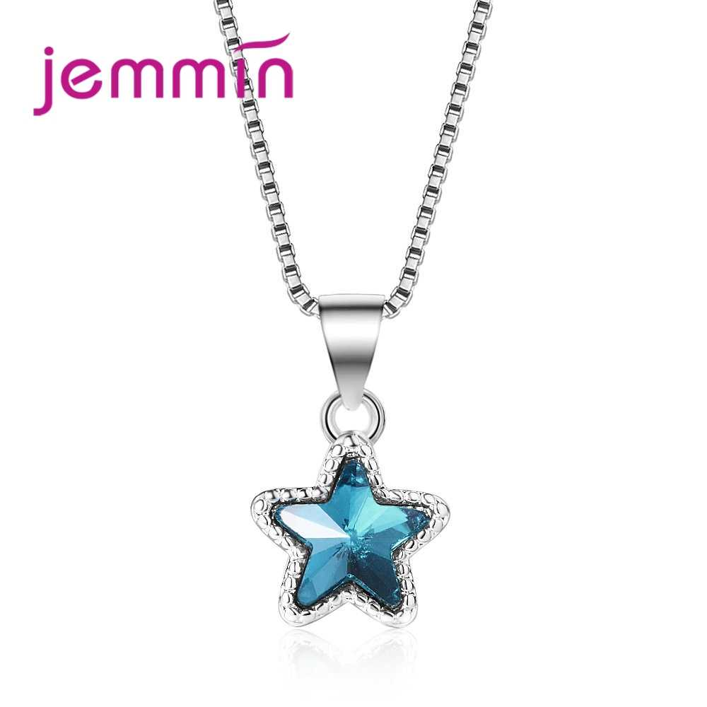 Exquisite Blue Star Crystal Pendant 925 Sterling Silver Necklace For Women Girls   Personality Party Jewelry