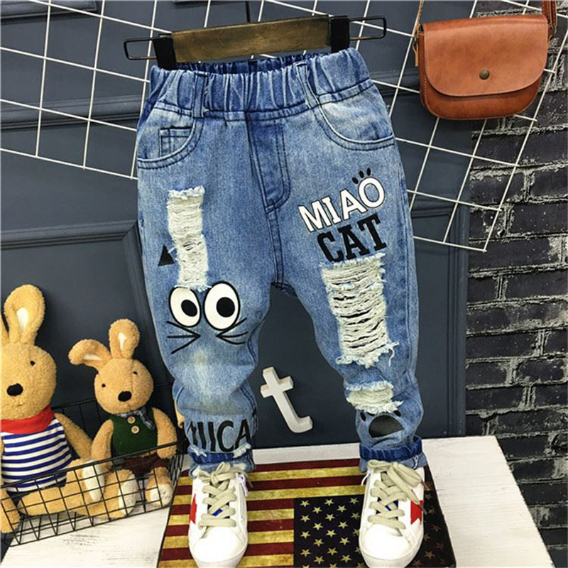 New Girls Jeans Spring Autumn Children Trousers 1-7Yrs Baby Boys Girls Jeans Boys Casual Hole Pants Cartoon Cat Jeans For Kids(China)