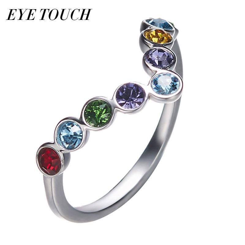 EYE TOUCH Crystals From Swarovski Luxury Ring Fashion Shiny Engagement Women Jewelry Elegant Rainbow Valentine's Day Gift