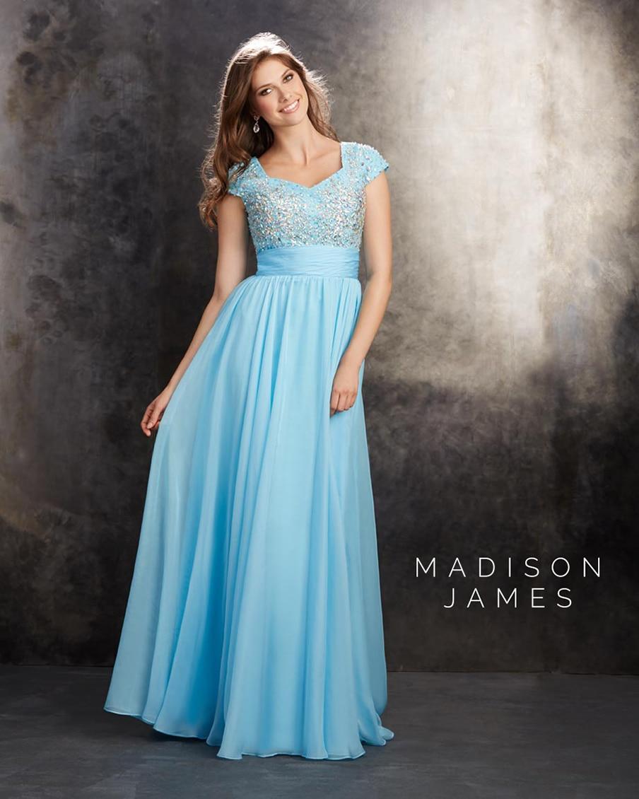 2015 Beautiful Light Sky Blue Long Prom Dresses Madison James Short ...