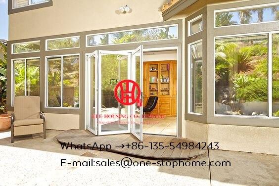 Porte pliante en verre en aluminium pour le tourisme, portes françaises en à deux volets d'aluminium, portes pliantes en aluminium de verre trempé de restaurants