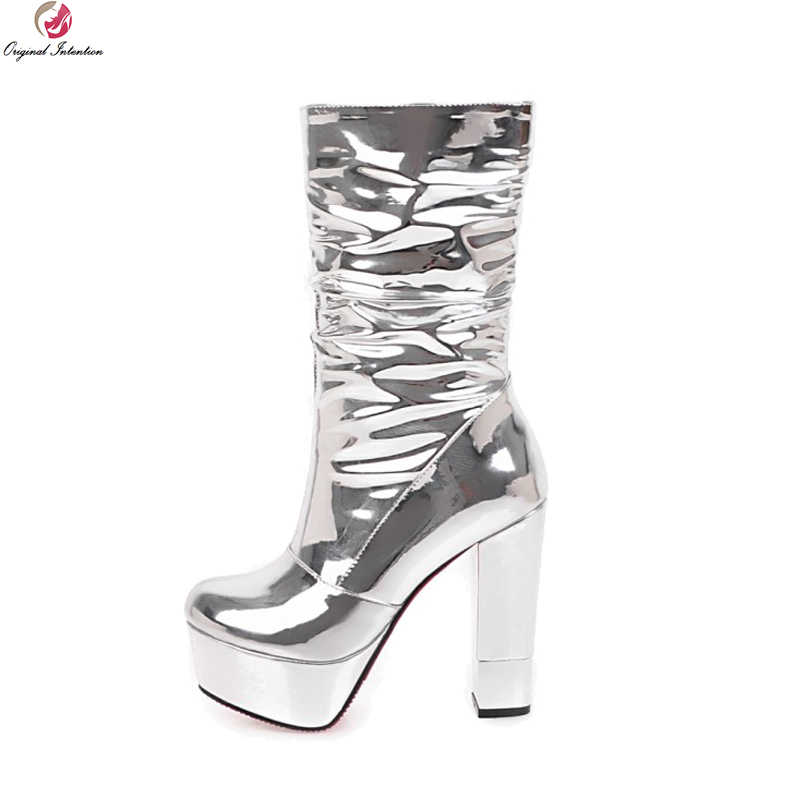 Original Intention Stylish Women Mid-Calf Boots Platform Round Toe Chunky Heels Boots Fashion Silver Shoes Woman US Size 3-10.5 stylish women s mid calf boots with solid color and fringe design