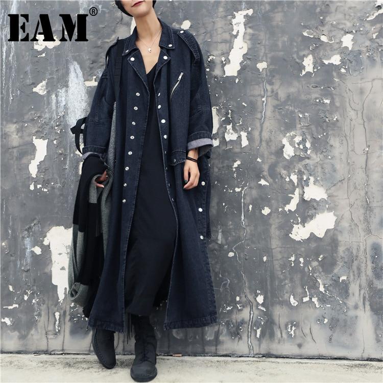 [EAM] 2019 Spring New Oversize Jacket Buttons Single Breasted Irregular Stitching Hem Ladies Fashion Denim Windbreaker BA8