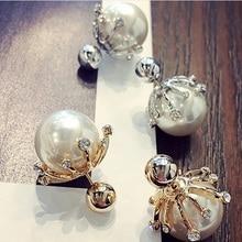 2016 Korean Style Fashion Big Simulated Pearl Jewelry  Temperament Rhinestone Color  Ball Stud Earrings  For Girl  ED019