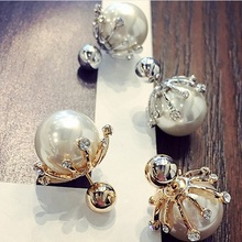 2016 Korean Style Fashion Big Simulated Pearl Jewelry Temperament Rhinestone Color Ball Stud Earrings For Girl ED019