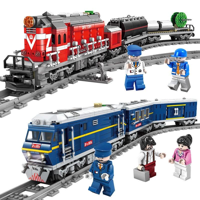 2018 Новый LegoING городской поезд мощный дизельный рельсовый поезд грузовой с треками Набор Модель технологические строительные блоки игрушки ...