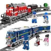2018 NEW LegoING City Train Power Driven Diesel Rail Train Cargo With Tracks Set Model Technic Building Blocks Toys for Children