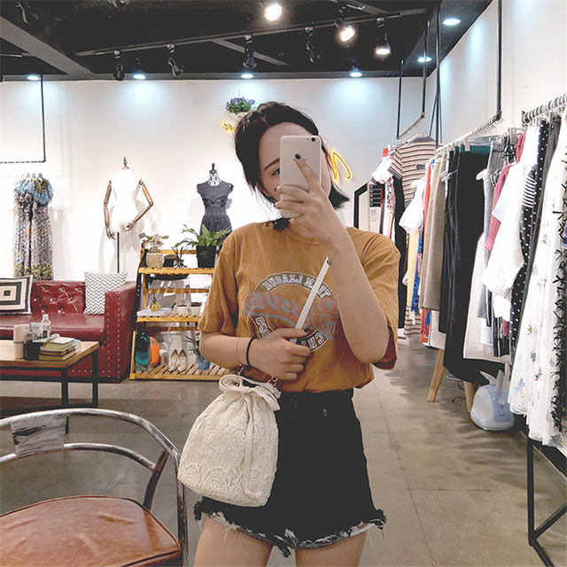 e3b97935b1 Women Cloth Handbag Small Lightweight Beige Lace Woven Bucket Bag For Ladies  Cotton Canvas Tote Shoulder Bags Sac En Coton Beige