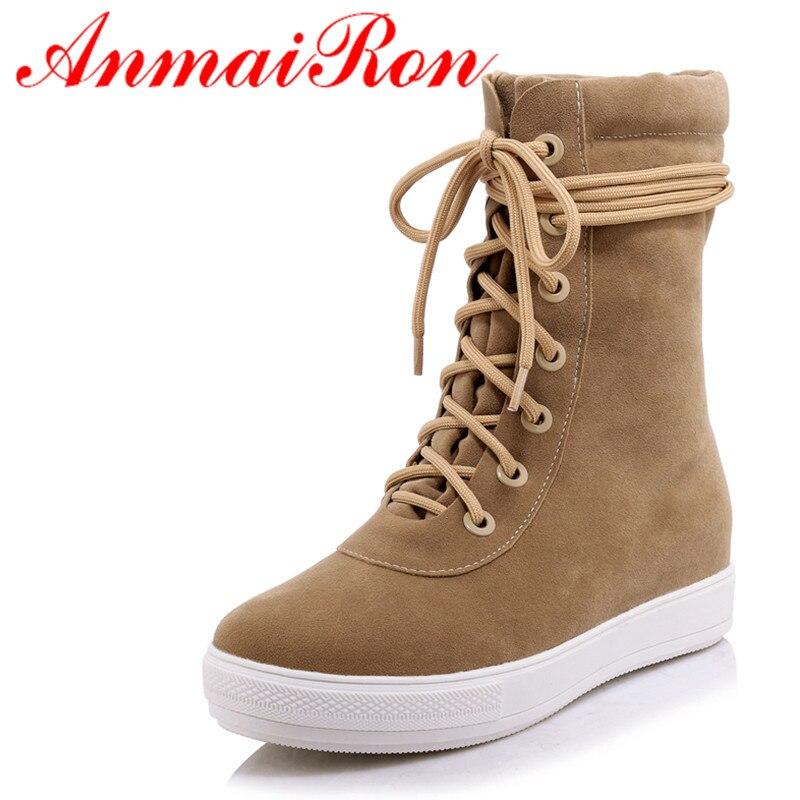 ANMAIRON/новинка демисезонные женские сапоги до середины икры повседневные сапоги на плоской подошве на шнуровке модная обувь на платформе с в...