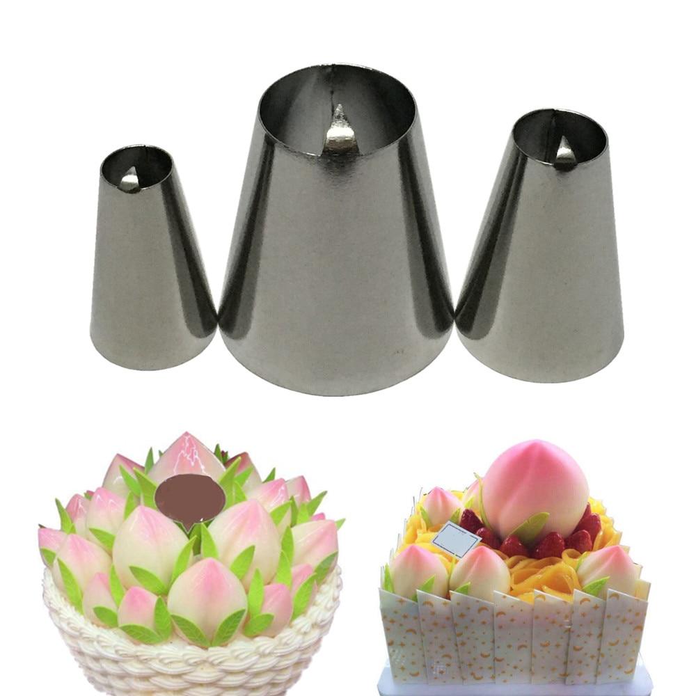 3pcs Peach Nozzle Decorating Pastry Tips Fondant Icing Nozzles Piping Bakewa I1