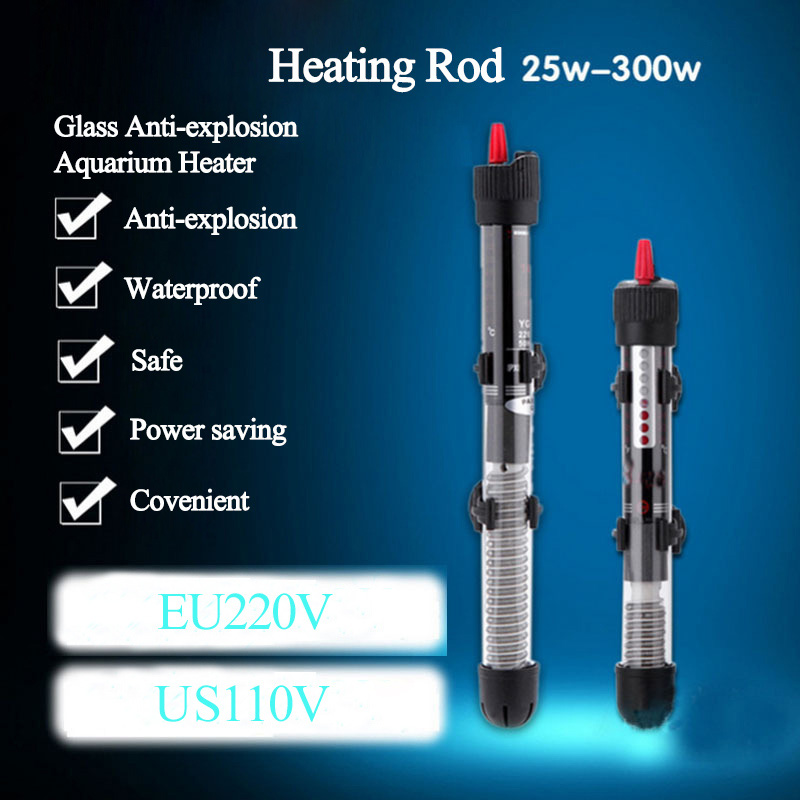 Submersible 110V/ 220-240V Heater Heating Rod for Aquarium Temperature Adjustable Glass Fish Tank Automatic Constant Temperature