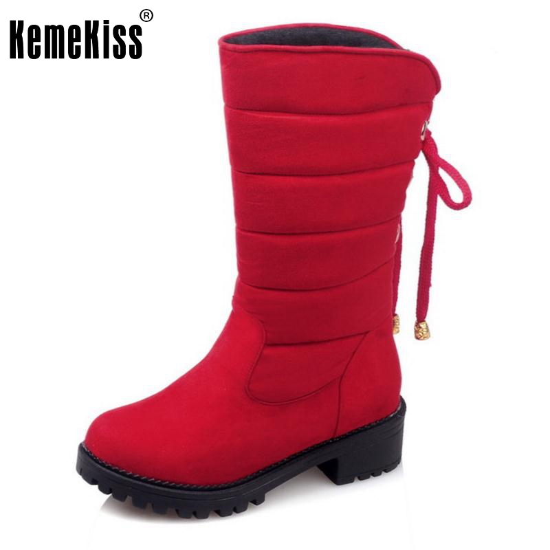 2016 New Arrive Keep Warm Snow Boots Fashion Thick Fur Platform Mid Calf Winter Boots For Women Shoes Footwear Size 30-52 2016 new arrive keep warm high heel snow boots fashion thick fur platform knee high winter boots for women shoes