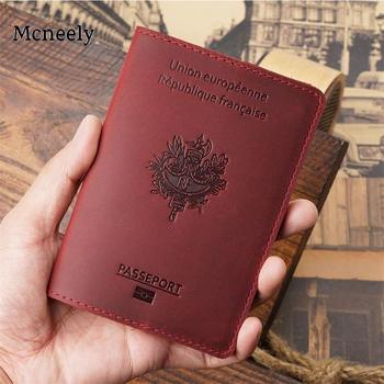 Hot France Passport Cover Crazy Horse Leather Card Holder Men Passport Case Travel Unisex French Genuine Leather Travel Wallet