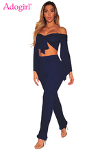Adogirl Plus Size Thread Two Piece Set Women Ribbed Off Shoulder Flare Long  Sleeve Self- 0a1a63e95b38