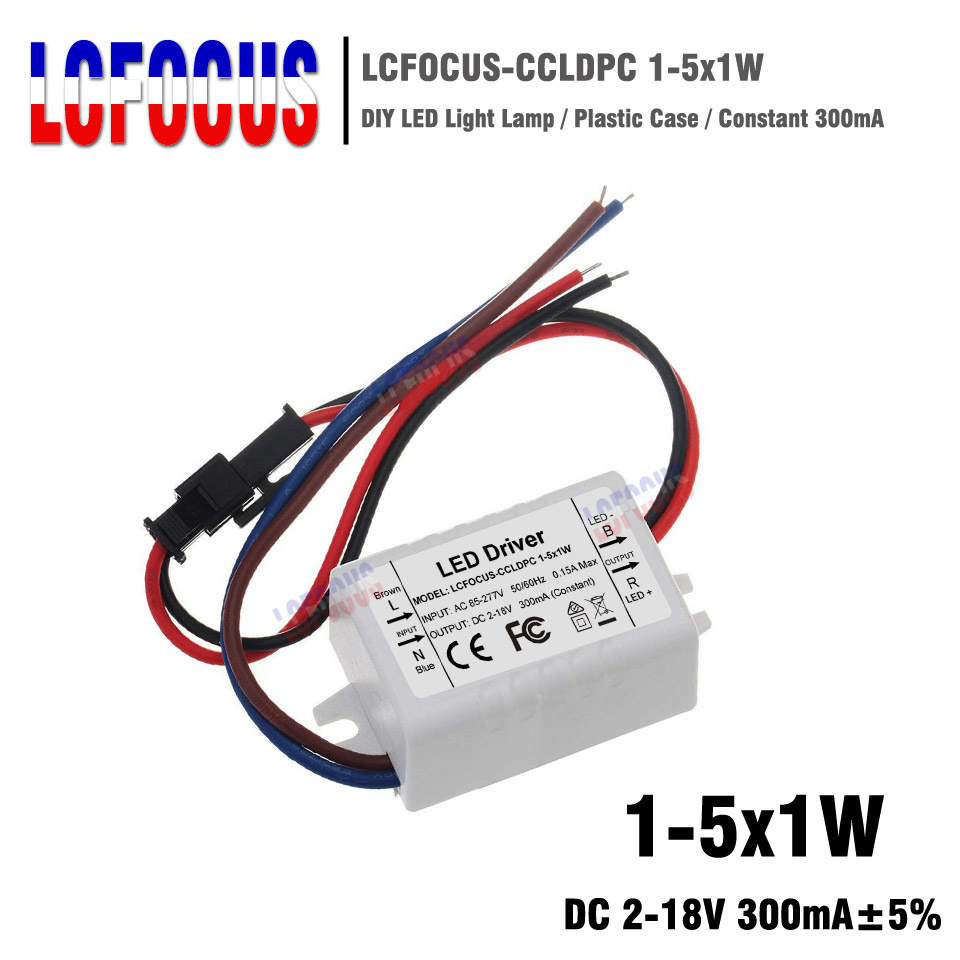 LED Driver 1-5x1W 1W 2W 3W 4W 5W Constant Current 300mA Plastic Case 1 2 3 4 5 W Watt Lighting Transformers Power Supply 1000 pcs 1 4w watt 0 25w 1