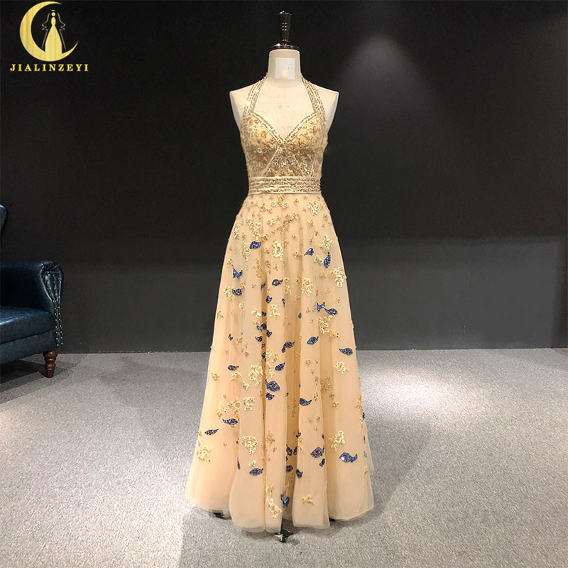 JIALINZEYI Rhine  real Pictures Champagne with Beads cryrtsal Halter Elie saab Formal dress prom dresses evening dresses