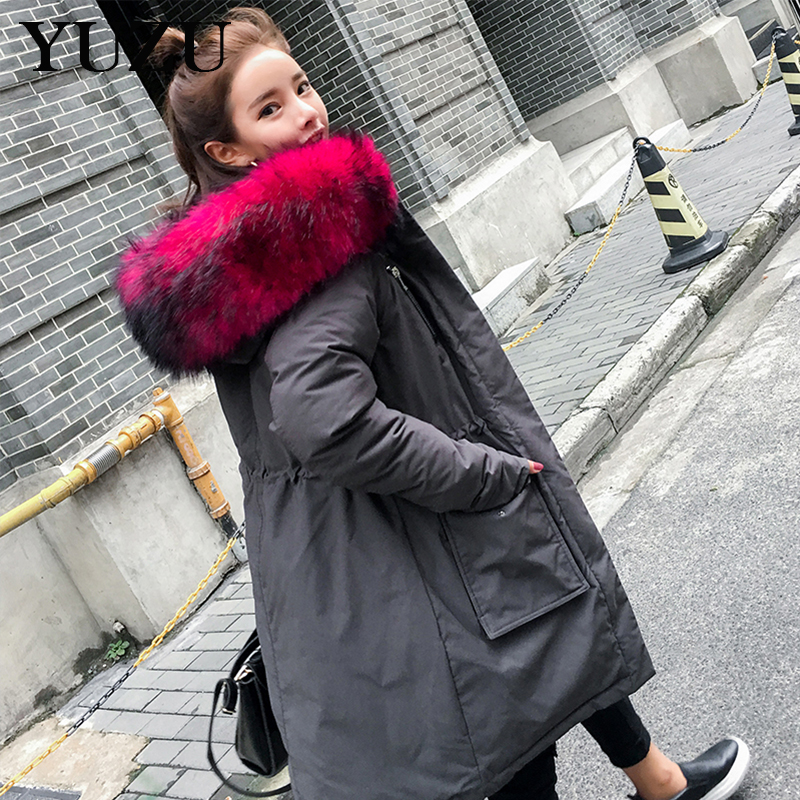 Winter Jacket Women Big Pink Fur Collar Hooded Cotton Liner Long Parka Black Army Green Gray Casual Plus Size Coats Quilt new 2017 winter women coat long cotton jacket fur collar hooded 2 sides wear outerwear casual parka plus size manteau femme 1858
