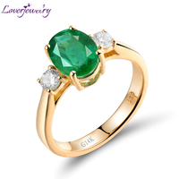 LOVERJEWELRY Solid 14Kt Yellow Gold Emerald Ring Natural Diamond Colombia Emerald Ring 585 Yellow Gold For Lady Gift