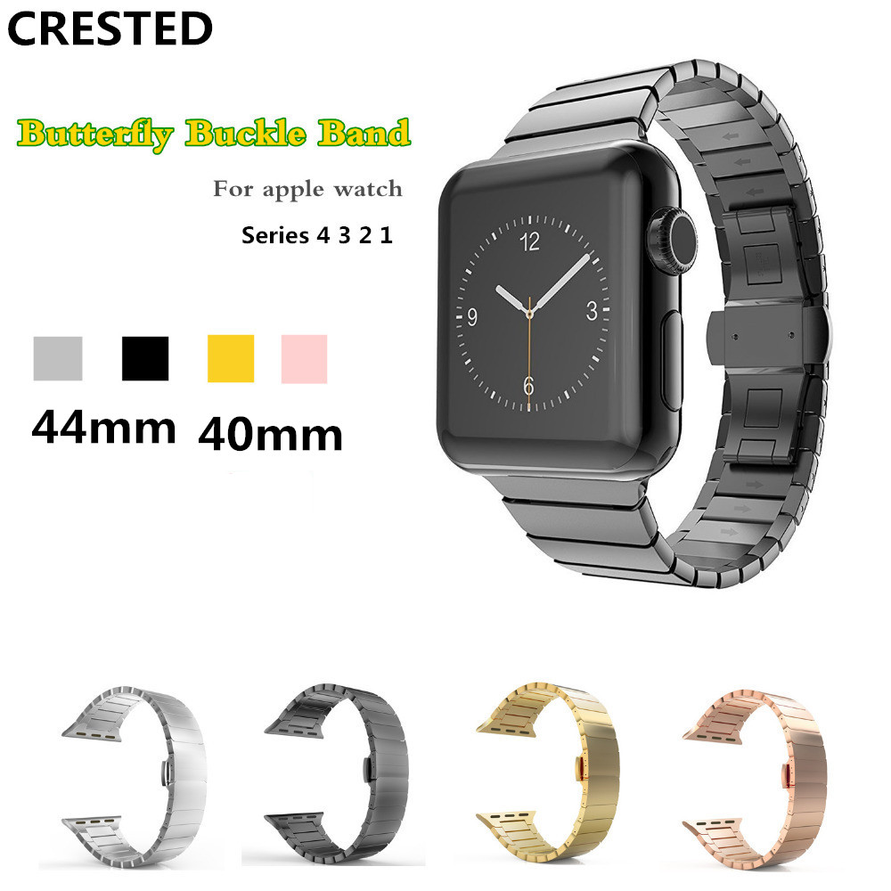CRESTED butterfly strap For Apple watch 4 band 44mm/40mm iwatch series 3 2 142mm/38mm stainless steel wrist Link bracelet beltCRESTED butterfly strap For Apple watch 4 band 44mm/40mm iwatch series 3 2 142mm/38mm stainless steel wrist Link bracelet belt