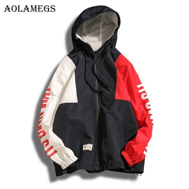 Aolamegs Original Patchwork Plus Size Thin Hoodies Men Fashion High Street Summer Hip hop Full Sleeve Sweatshirts Streetwear