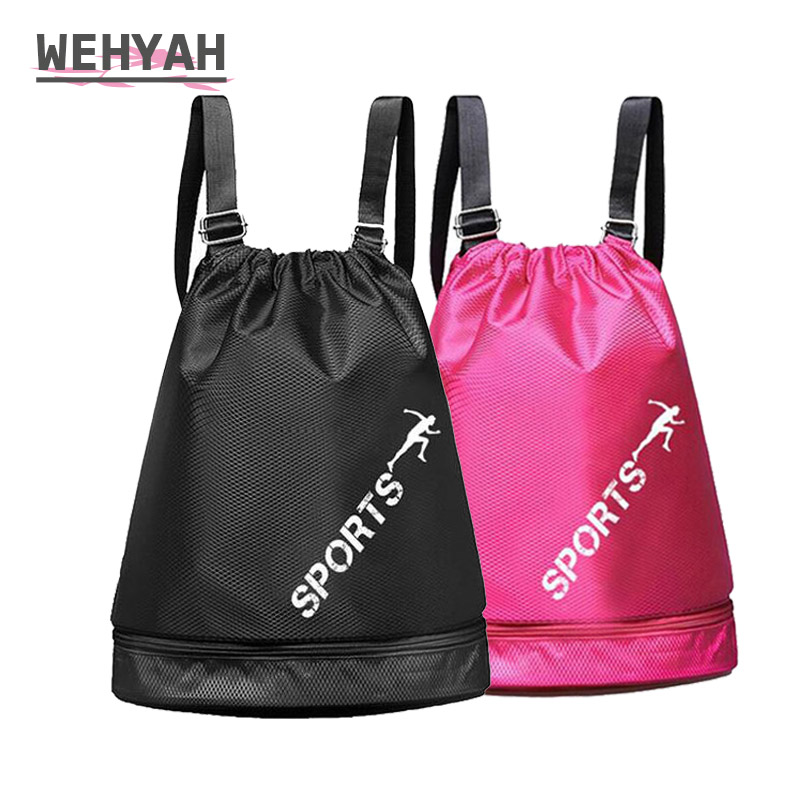 Wehyah Drawstring Backpack Bags for Women Beach Bag Travel Storage String Package Wet Dry Separation Layer