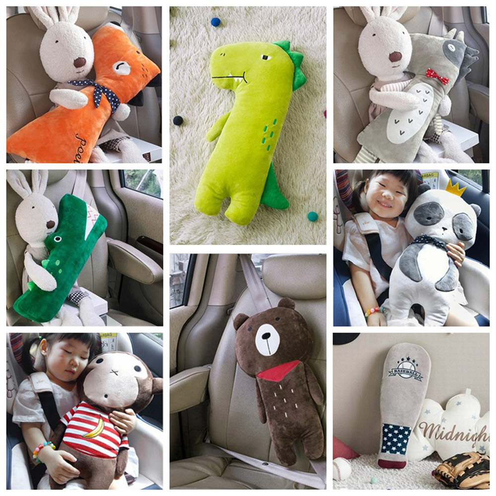 Kid Car Pillows Cartoon Plush Toy Auto Safety Seat Belt Vehicle Shoulder Cushion Pad Children Protection Support Soft for Kids