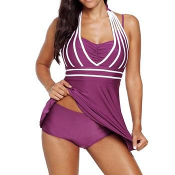 Plus size 5XL One Piece Swimwear Women Halter Swimdress Two Pieces Tankini Set Monokini Bathing Suit swimsuit 5