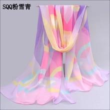 2017 красивая горячие продажа шарф женщины шифон geogette красочные шелка чувство шарф женские летние солнцезащитный крем платки пашмины