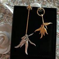 Brass Pendant Earring Leaf Tassel Asymmetrical Earrings For Women Dangle Party Jewelry Gift