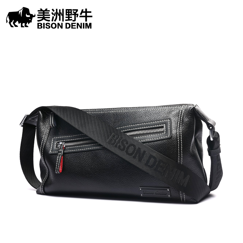 Brand BISON DENIM Top Genuine Leather Handbag Men Messenger Bag Casual Satchel Business Travel Crossbody Bag Men's Shoulder Bags aerlis brand men handbag canvas pu leather satchel messenger sling bag versatile male casual crossbody shoulder school bags 4390