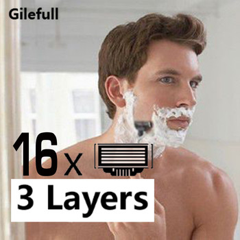 Lote de 16 cuchillas de afeitar de alta calidad para el cuidado de la cara de hombre, de 3 capas cuchillas de afeitar, juego de cuchillas para Mach3