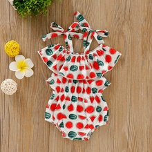 Printed Red Watermelon Cotton Printing Suit Belt Printed One-character Shoulder Vest Sleeveless Triangle Trousers Climbing Suit цена 2017