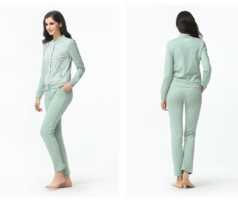 Spring Female Casual Pajama Sets Women Baseball Collar Cardigan Coat + Pants Suit Ladies Lace Patchwork Pyjamas Plus Size