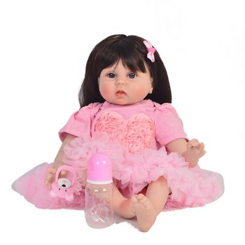 "22""55cm Reborn soft silicone vinyl babies wholesale lifelike pink clothes bonecas Handmade fashion DIY Xmas Gifts toys for sale"