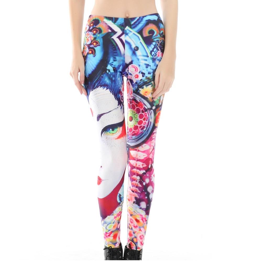 Japanese Geisha Face Print Leggings Womens Halloween Holiday Lycra Spandex Pants Womens Leggins Workout Trouses LS8153