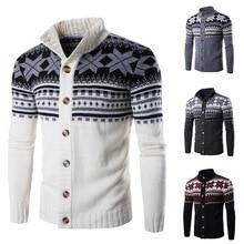 Мужские вязаные свитера Pui, tiua, с принтом снега, Осенние, мужские, повседневные, классические, вязаные, мужские, на одной пуговице, теплые, модные, свитера, пальто