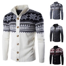 Puimentiua Mens Snow Print Knitted Sweater Coat Brand Autumn Male Casual Classic Single Button Warm Cardigan Clothes