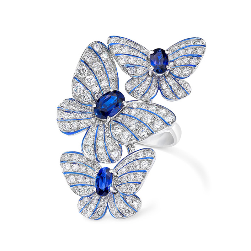 Stone-Ring Blue Butterfly Jewelry Crystal Women Trendy Wedding for Big Pave Personalized-Accessories
