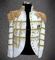 2014 новые приходят мода белая звезда стиля мужчины Кисти epaulet костюм топ стадия мужской пиджак певец танцор производительность костюмы пальто