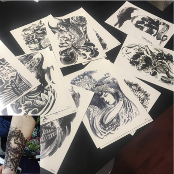 10pcs Body Art Arm Temporary Tattoos Stickers Black Large Cool Skull Waterproof Flash Tattoo Fake Transfer Sticker for Men Women waterproof temporary tattoo sticker 10 5 6 cm dragon tattoo water transfer fake tattoo flash tattoos for men women 422