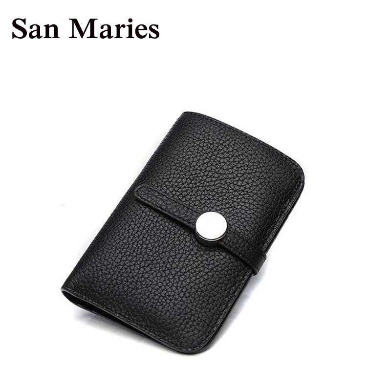 San Maries GenuineLeather Women Wallet Luxury Brand Famous Womens Wallets And Purses Short Female Coin Purse Credit Card Holders