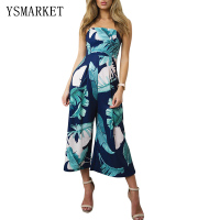 Sexy Strapless Navy Blue Leaf Print Party Capris Jumpsuit Beach Wear Rompers Wide Leg Women Summer Long Playsuit K8325
