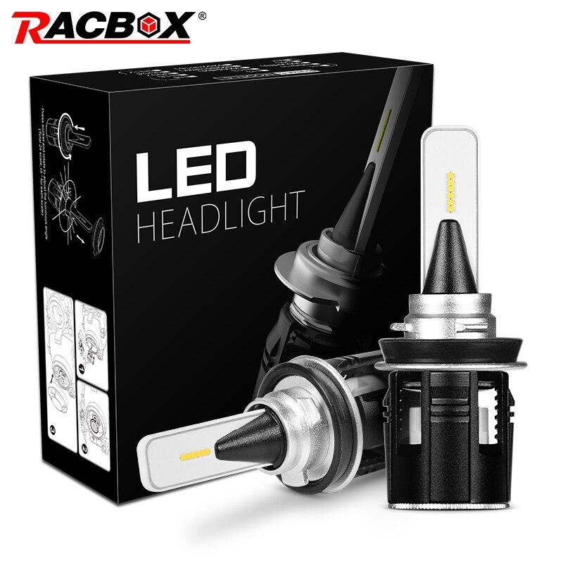 RACBOX Turbine Car LED Headlight Bulbs H4 H13 9004 9007 Hi Lo H1 H3 H7 H11 9005 9006 HB3 HB4 D2S Light White 6000K LED Auto Lamp