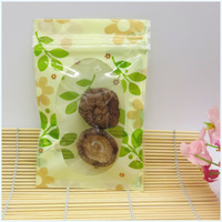 Retail 22*30cm 100/Lot Tea Snack Clear Ziplock Packaging Bags Green Leaf Heat Seal Plastic Valve Resealable Bag